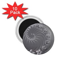 Gray Abstract Flowers 1 75  Button Magnet (10 Pack) by BestCustomGiftsForYou