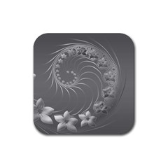 Gray Abstract Flowers Drink Coasters 4 Pack (square) by BestCustomGiftsForYou