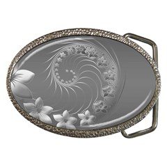 Gray Abstract Flowers Belt Buckle (oval) by BestCustomGiftsForYou