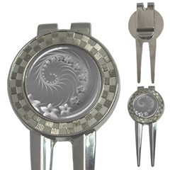 Gray Abstract Flowers Golf Pitchfork & Ball Marker by BestCustomGiftsForYou