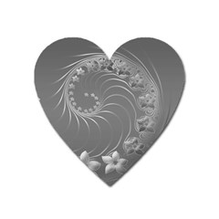 Gray Abstract Flowers Magnet (heart) by BestCustomGiftsForYou