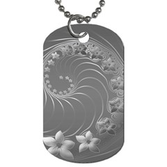 Gray Abstract Flowers Dog Tag (two Sided)  by BestCustomGiftsForYou