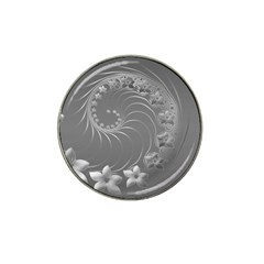 Gray Abstract Flowers Golf Ball Marker 4 Pack (for Hat Clip) by BestCustomGiftsForYou