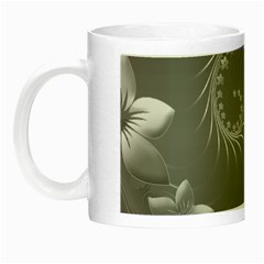 Gray Abstract Flowers Glow In The Dark Mug by BestCustomGiftsForYou