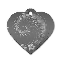 Gray Abstract Flowers Dog Tag Heart (one Sided)  by BestCustomGiftsForYou