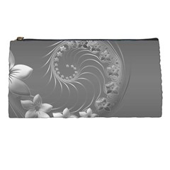 Gray Abstract Flowers Pencil Case by BestCustomGiftsForYou