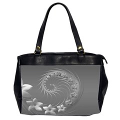 Gray Abstract Flowers Oversize Office Handbag (Two Sides)