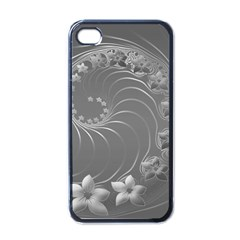 Gray Abstract Flowers Apple Iphone 4 Case (black) by BestCustomGiftsForYou