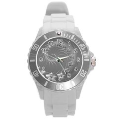 Gray Abstract Flowers Plastic Sport Watch (large) by BestCustomGiftsForYou