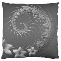 Gray Abstract Flowers Large Cushion Case (Two Sides) by BestCustomGiftsForYou