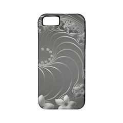 Gray Abstract Flowers Apple Iphone 5 Classic Hardshell Case (pc+silicone) by BestCustomGiftsForYou