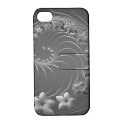 Gray Abstract Flowers Apple Iphone 4/4s Hardshell Case With Stand by BestCustomGiftsForYou