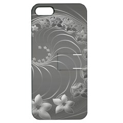Gray Abstract Flowers Apple Iphone 5 Hardshell Case With Stand by BestCustomGiftsForYou
