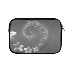 Gray Abstract Flowers Apple Ipad Mini Zipper Case by BestCustomGiftsForYou
