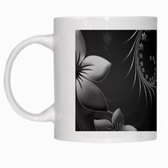 Dark Gray Abstract Flowers White Coffee Mug