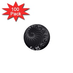 Dark Gray Abstract Flowers 1  Mini Button (100 Pack) by BestCustomGiftsForYou