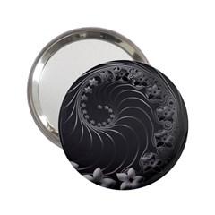Dark Gray Abstract Flowers Handbag Mirror (2 25 ) by BestCustomGiftsForYou
