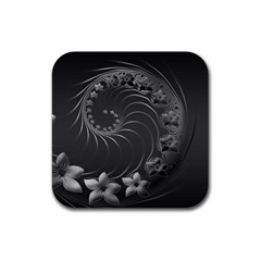 Dark Gray Abstract Flowers Drink Coasters 4 Pack (Square)