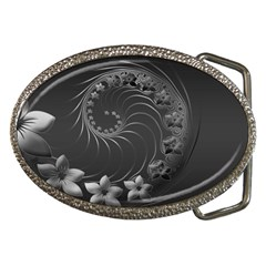 Dark Gray Abstract Flowers Belt Buckle (oval) by BestCustomGiftsForYou