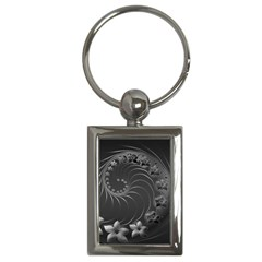 Dark Gray Abstract Flowers Key Chain (rectangle) by BestCustomGiftsForYou