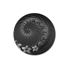 Dark Gray Abstract Flowers Magnet 3  (round) by BestCustomGiftsForYou