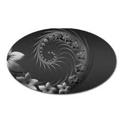 Dark Gray Abstract Flowers Magnet (oval) by BestCustomGiftsForYou