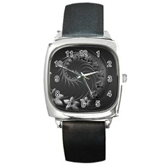 Dark Gray Abstract Flowers Square Leather Watch by BestCustomGiftsForYou