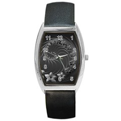Dark Gray Abstract Flowers Tonneau Leather Watch by BestCustomGiftsForYou