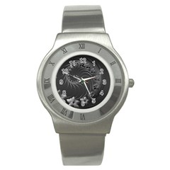 Dark Gray Abstract Flowers Stainless Steel Watch (unisex) by BestCustomGiftsForYou
