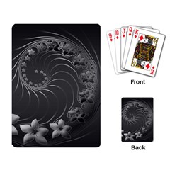 Dark Gray Abstract Flowers Playing Cards Single Design by BestCustomGiftsForYou
