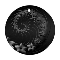 Dark Gray Abstract Flowers Round Ornament (two Sides) by BestCustomGiftsForYou