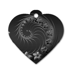 Dark Gray Abstract Flowers Dog Tag Heart (one Sided)  by BestCustomGiftsForYou