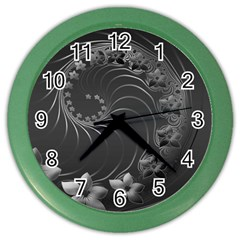Dark Gray Abstract Flowers Wall Clock (color) by BestCustomGiftsForYou
