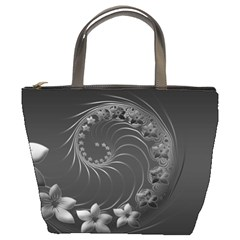 Dark Gray Abstract Flowers Bucket Bag by BestCustomGiftsForYou