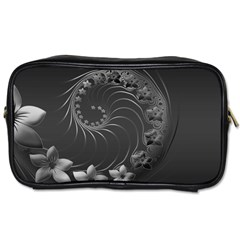 Dark Gray Abstract Flowers Travel Toiletry Bag (two Sides) by BestCustomGiftsForYou