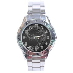Dark Gray Abstract Flowers Stainless Steel Watch (men s) by BestCustomGiftsForYou