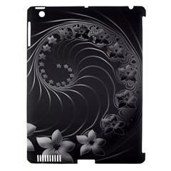 Dark Gray Abstract Flowers Apple Ipad 3/4 Hardshell Case (compatible With Smart Cover) by BestCustomGiftsForYou
