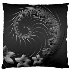 Dark Gray Abstract Flowers Large Cushion Case (two Sides) by BestCustomGiftsForYou