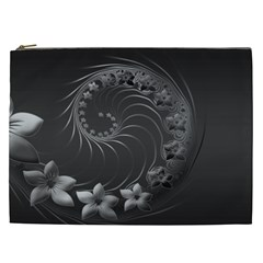 Dark Gray Abstract Flowers Cosmetic Bag (xxl) by BestCustomGiftsForYou