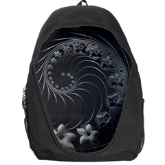 Dark Gray Abstract Flowers Backpack Bag by BestCustomGiftsForYou