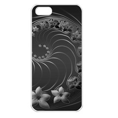 Dark Gray Abstract Flowers Apple Iphone 5 Seamless Case (white) by BestCustomGiftsForYou