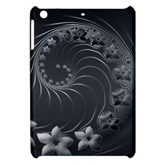 Dark Gray Abstract Flowers Apple Ipad Mini Hardshell Case by BestCustomGiftsForYou