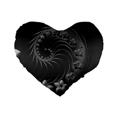 Dark Gray Abstract Flowers 16  Premium Heart Shape Cushion  by BestCustomGiftsForYou