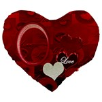 Red Love 19  Heart Cushion - Large 19  Premium Heart Shape Cushion