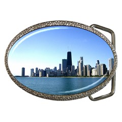 Chicago Skyline Belt Buckle (oval) by canvasngiftshop