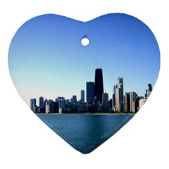 Chicago Skyline Heart Ornament by canvasngiftshop