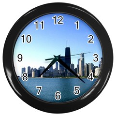 Chicago Skyline Wall Clock (black) by canvasngiftshop