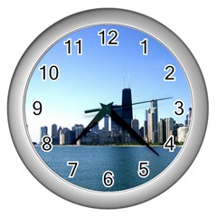 Chicago Skyline Wall Clock (silver) by canvasngiftshop