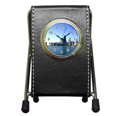 Chicago Skyline Stationery Holder Clock by canvasngiftshop