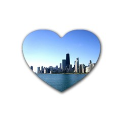 Chicago Skyline Drink Coasters 4 Pack (heart)  by canvasngiftshop